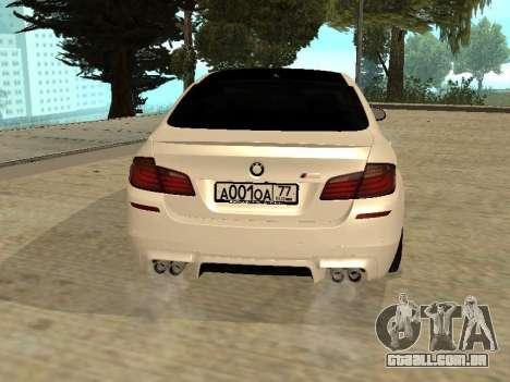 BMW M5 F10 V2.0 para GTA San Andreas traseira esquerda vista