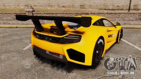 McLaren MP4-12C GT3 (Updated) para GTA 4 traseira esquerda vista