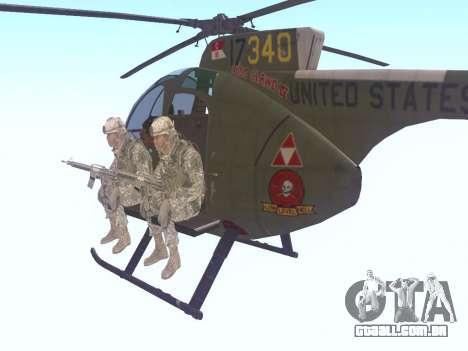 OH-6 Cayuse para GTA San Andreas traseira esquerda vista