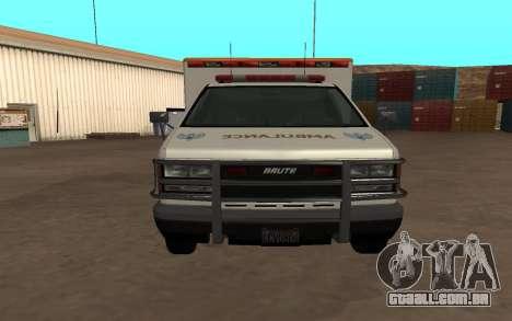 GTA 5 Ambulance para GTA San Andreas traseira esquerda vista