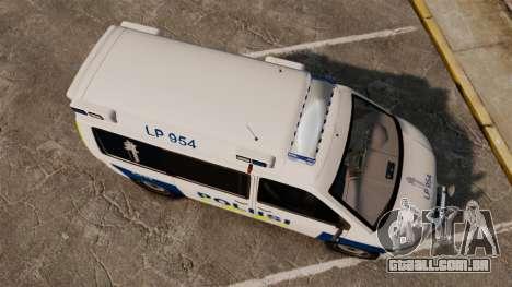Volkswagen Transporter T5 TDI POLIISI [ELS] para GTA 4 vista direita