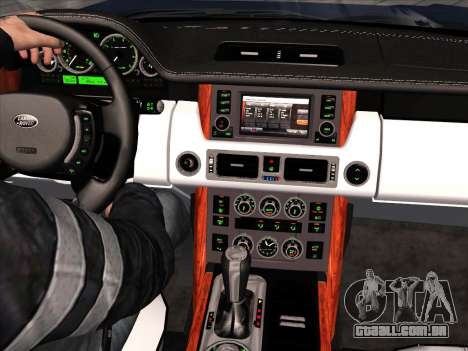 Land Rover Supercharged Stock 2010 V2.0 para GTA San Andreas vista interior