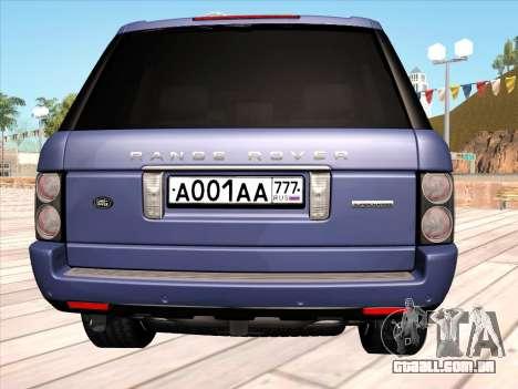 Land Rover Supercharged Stock 2010 V2.0 para GTA San Andreas vista traseira