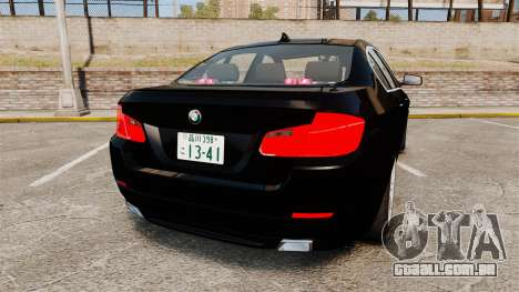BMW M5 F10 2012 Japanese Unmarked Police [ELS] para GTA 4 traseira esquerda vista