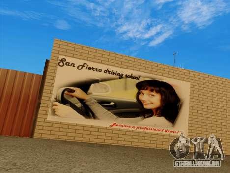 Atualizado texturas escola de condução para GTA San Andreas segunda tela