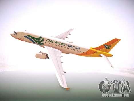 Airbus A320 Cebu Pacific Air para GTA San Andreas vista traseira