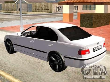 BMW 530d E39 para GTA San Andreas traseira esquerda vista