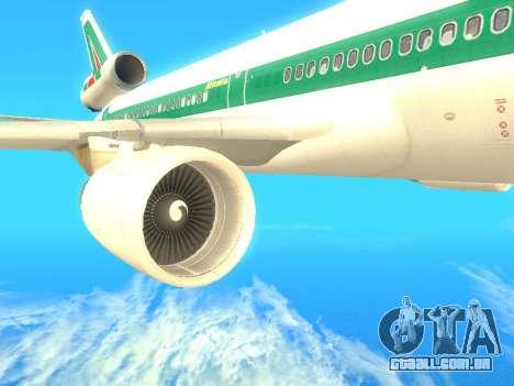 McDonnell Douglas MD-11 Alitalia para GTA San Andreas vista direita