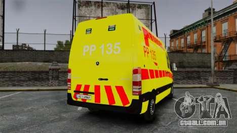 Mercedes-Benz Sprinter Finnish Ambulance [ELS] para GTA 4 traseira esquerda vista