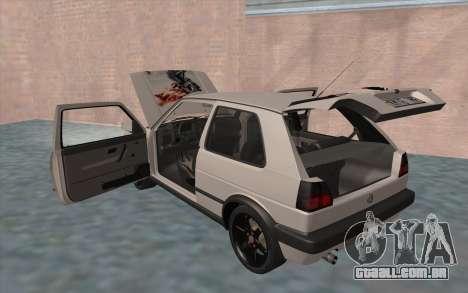 Volkswagen Golf 2 para GTA San Andreas vista inferior
