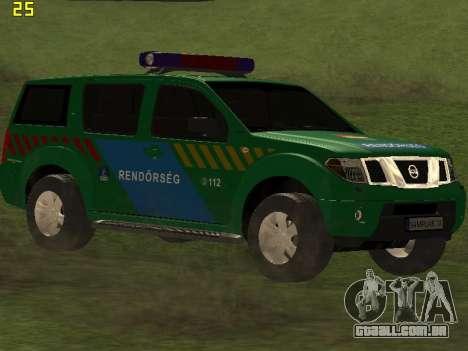Nissan Pathfinder Police para GTA San Andreas vista traseira