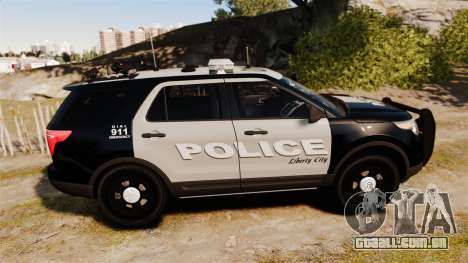 Ford Explorer 2013 LCPD [ELS] Black and Gray para GTA 4 esquerda vista