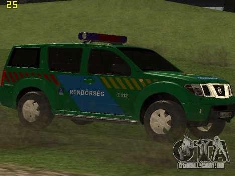 Nissan Pathfinder Police para GTA San Andreas vista interior