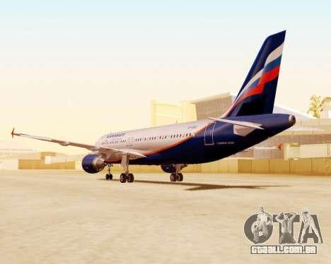 A Airbus A320-200 Tam Linhas Aereas para GTA San Andreas vista interior
