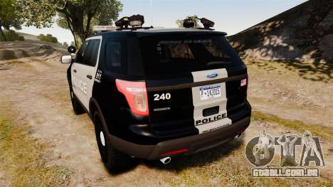 Ford Explorer 2013 LCPD [ELS] Black and Gray para GTA 4 traseira esquerda vista