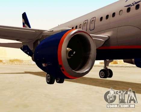 A Airbus A320-200 Tam Linhas Aereas para GTA San Andreas traseira esquerda vista