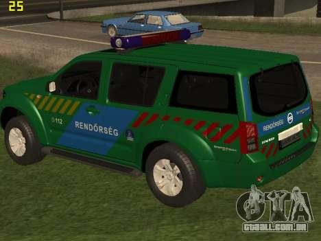 Nissan Pathfinder Police para GTA San Andreas vista inferior