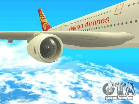 A380-800 Hainan Airlines para GTA San Andreas vista direita