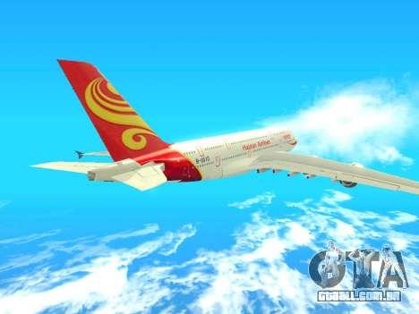 A380-800 Hainan Airlines para GTA San Andreas vista traseira