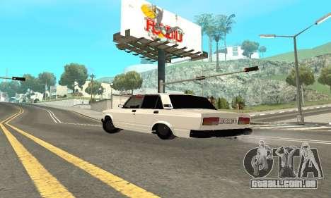 VAZ 2107 Avtosh para GTA San Andreas traseira esquerda vista