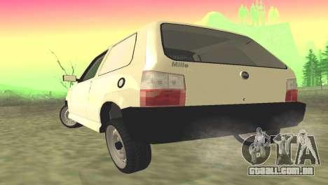Fiat Uno Fire Cargo para GTA San Andreas traseira esquerda vista