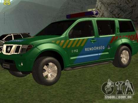 Nissan Pathfinder Police para GTA San Andreas vista superior