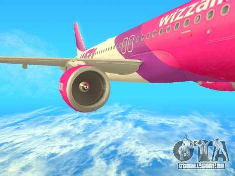 Airbus A320-200 WizzAir para GTA San Andreas traseira esquerda vista