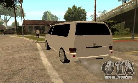 Volkswagen T4 Transporter para GTA San Andreas traseira esquerda vista