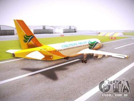 Airbus A320 Cebu Pacific Air para GTA San Andreas vista direita