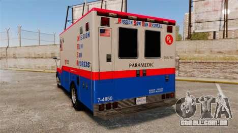 Brute MRSA Paramedic para GTA 4 traseira esquerda vista
