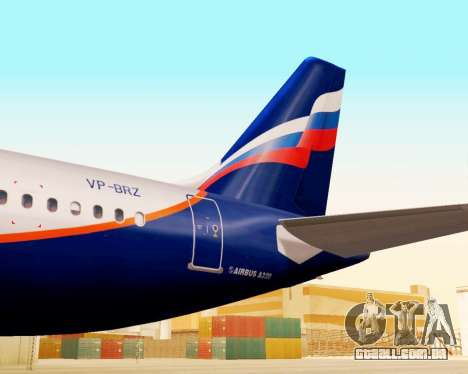 A Airbus A320-200 Tam Linhas Aereas para GTA San Andreas vista traseira