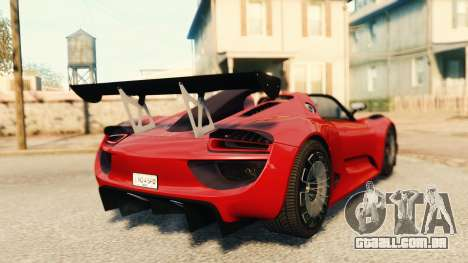 Porsche 918 Spider Body Kit Final para GTA 4 traseira esquerda vista