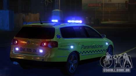 Volkswagen Passat Variant 2010 Paramedic [ELS] para GTA 4 traseira esquerda vista