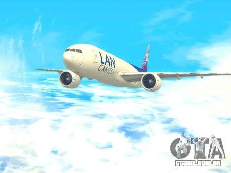 Boeing 777 LAN Cargo para GTA San Andreas traseira esquerda vista