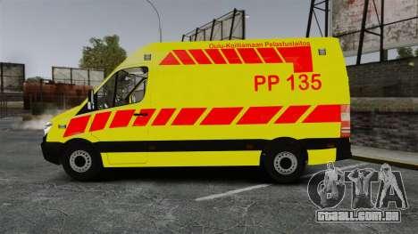 Mercedes-Benz Sprinter Finnish Ambulance [ELS] para GTA 4 esquerda vista