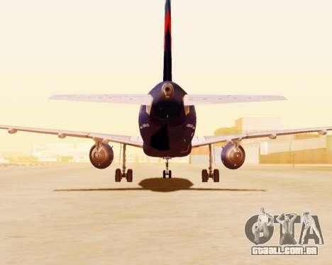 A Airbus A320-200 Tam Linhas Aereas para vista lateral GTA San Andreas