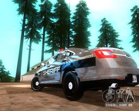 Ford Interceptor Los Santos County Sheriff para GTA San Andreas traseira esquerda vista