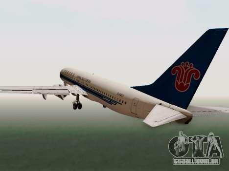 China Southern Airlines Boeing 737-800 para GTA San Andreas vista interior