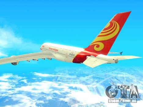 A380-800 Hainan Airlines para GTA San Andreas esquerda vista