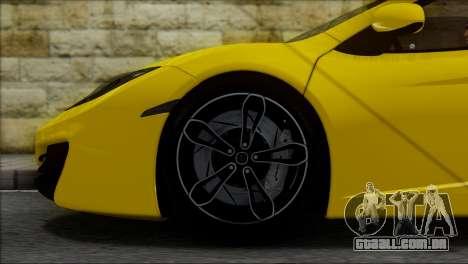 McLaren MP4-12C Spider para GTA San Andreas vista interior