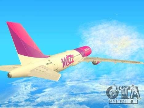 Airbus A320-200 WizzAir para GTA San Andreas vista traseira