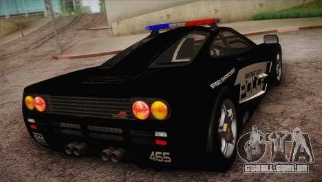 McLaren F1 Police Edition para GTA San Andreas traseira esquerda vista