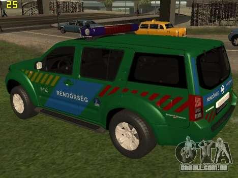 Nissan Pathfinder Police para GTA San Andreas traseira esquerda vista