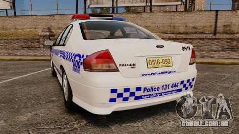 Ford Falcon XR8 Police Western Australia [ELS] para GTA 4 traseira esquerda vista