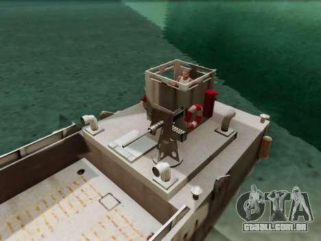 Landing Craft para GTA San Andreas vista traseira