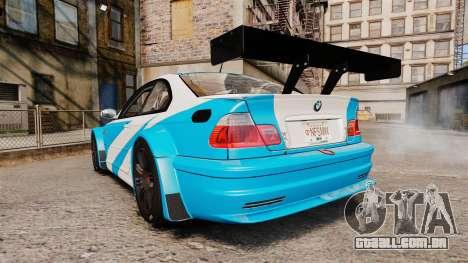 BMW M3 GTR 2012 Most Wanted v1.1 para GTA 4 traseira esquerda vista