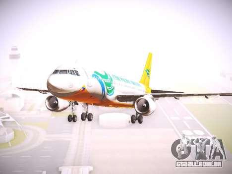 Airbus A320 Cebu Pacific Air para GTA San Andreas traseira esquerda vista