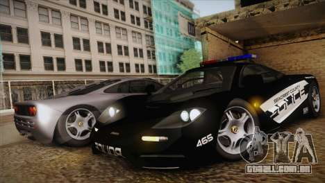 McLaren F1 Police Edition para GTA San Andreas esquerda vista