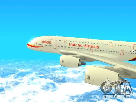 A380-800 Hainan Airlines para GTA San Andreas traseira esquerda vista