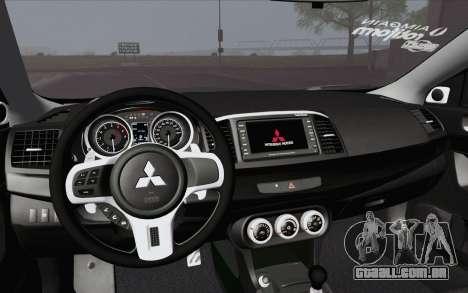 Mitsubishi Lancer Evo X GangLow para GTA San Andreas vista direita